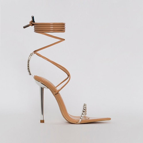 Karmen - Nude Patent Clear Diamante Tie Up Stiletto Heels