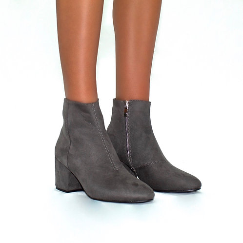 Theodora - Grey Faux Suede Pointed Toe aloe Block Heel Ankle Boots