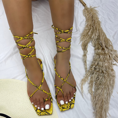 Janet - Yellow Snake Print Tie Up Flat Sandals