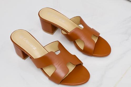 Lillian - Brown H Style Low Block Mule Heel