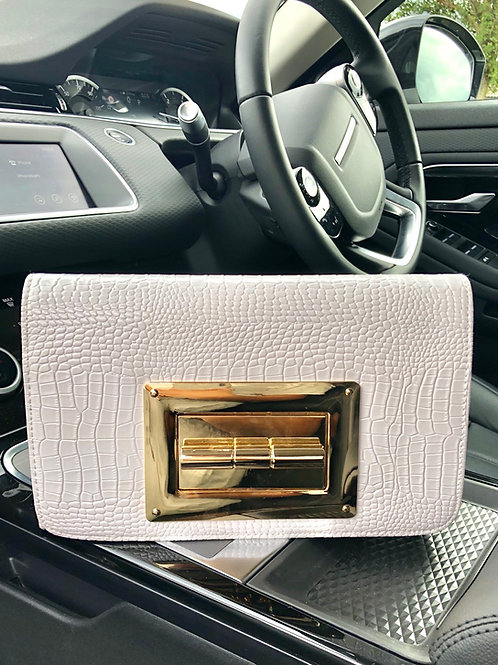 White Meera Clutch - White Croc Print With Large Gold Buckle Clasp Clutch Bag