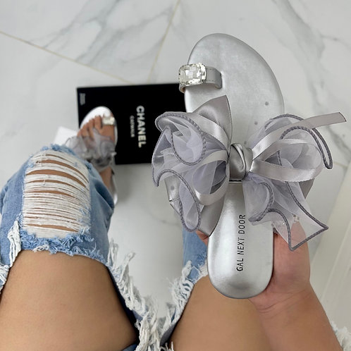 Epson- Silver Organza Bow & Check Print Toe Ring Flat Sandals