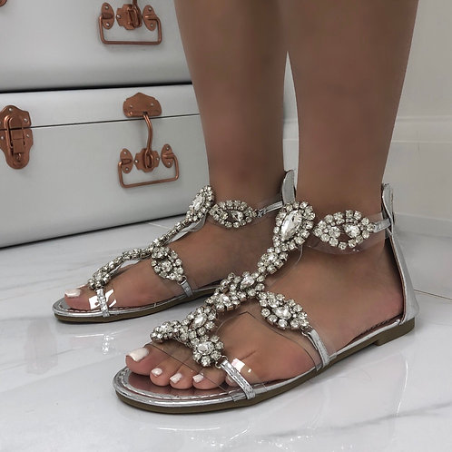 Kira - Silver Chain Detail Zip Up Flat Sandals