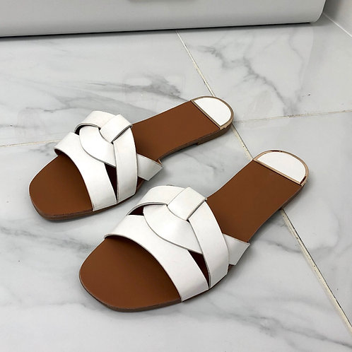 Grace - White Strappy Knot Flat Slip On Sandal
