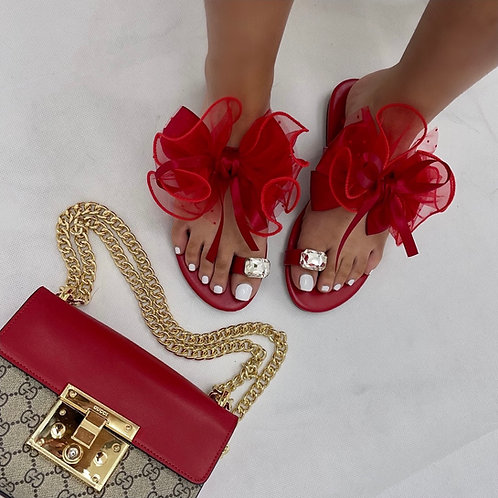 Epson- Red Organza Bow & Check Print Toe Ring Flat Sandals