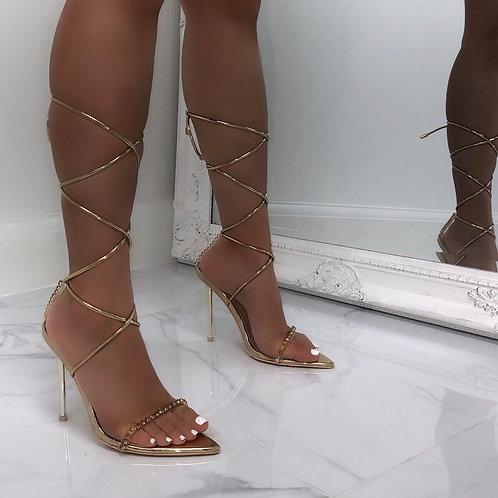 Karmen - Gold Patent Clear Diamante Tie Up Stiletto Heels