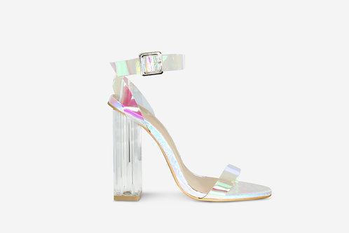 Mila - Iridescent Croc Print Perspex Block Heel