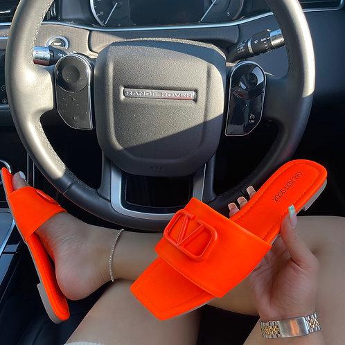Rai - Neon Orange V Detail Square Toe Flat Sandals