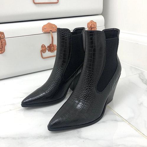 Roxy - Black Croc Print Pointed Toe Block Heel Ankle Boot