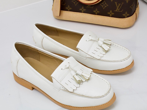 Ava - White Vegan Leather Tassle Loafer