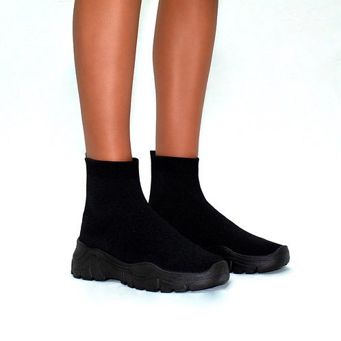 Stomp - Black Knit Sock Style Chunky Sole Boot Trainers