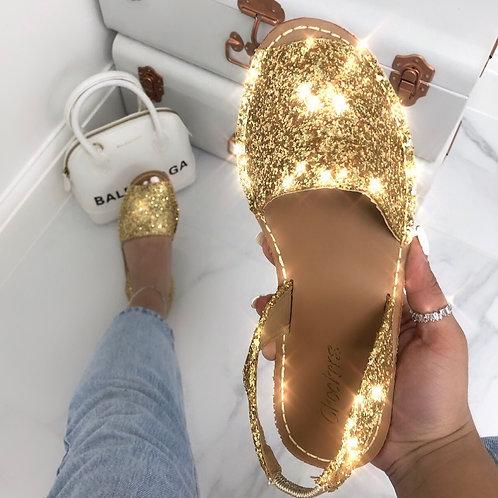Mia - Gold Glitter Peep Toe Sling Back Sandals