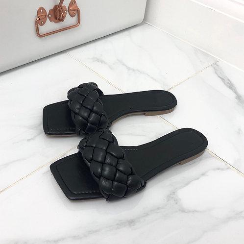 Kirby - Black Plaited Detail Square Toe Slip On Flat Sandals