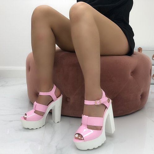 Sasha - Pink Patent White Chunky Sole Platform Heel