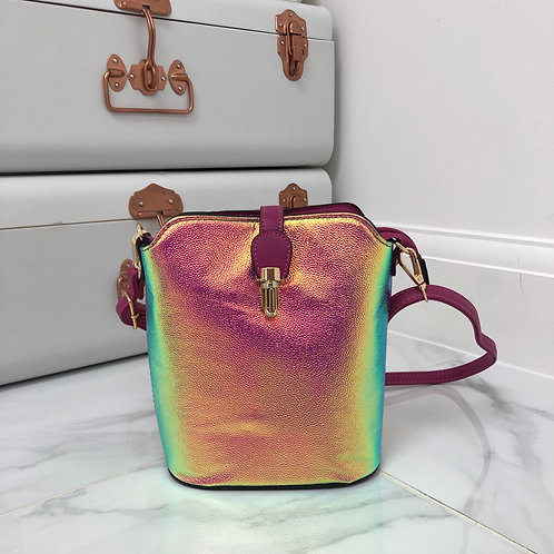 Pink Iridescent Faux Leather and Gold Clip in Cross Body Zip Up Bag
