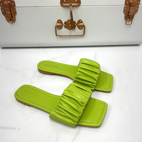 Persia - Lime Ruched Square Toe Flat Sandals