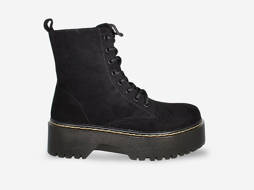 Ali - Black Faux Suede Chunky Sole Lace Boot