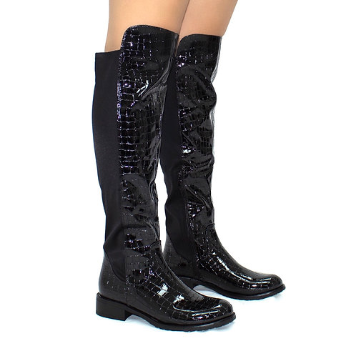 Stephie - Black Croc Patent With Lycra Stretch Back Panel Flat Knee High Boots