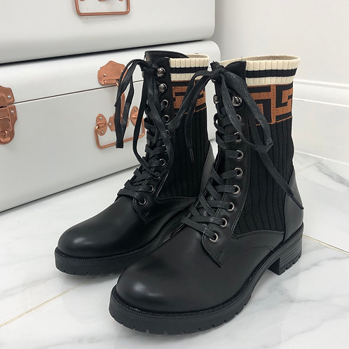 Noah - Black Military Style With Knit Detail Lace Up Boots