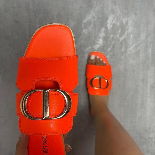 Dakota - Neon Orange with Gold Detail Slip On Flat Sandal