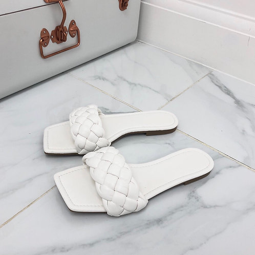 Kirby - White Plaited Detail Square Toe Slip On Flat Sandals