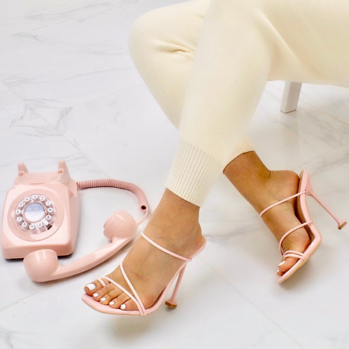 Belle - Pink Barely There Strappy Mule Heel