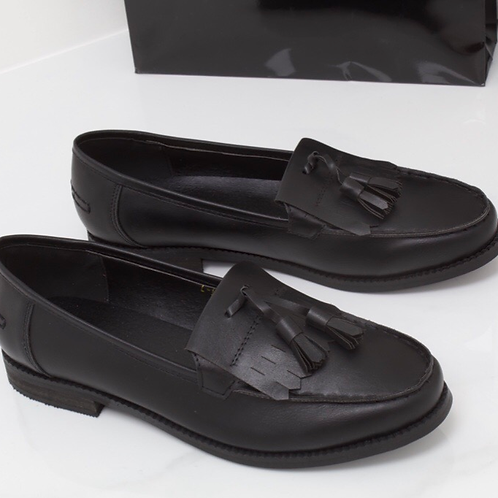 Ava - Black Vegan Leather Tassle Loafer