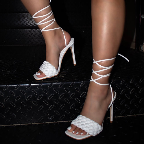 Tessa - White Woven Detail Tie-Up Mule Heels