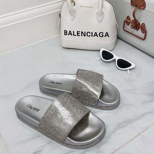 Jade- Silver Diamante Sole Slider Sandal