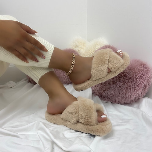 Nala - Mocha Fluffy Cross Strap Slippers