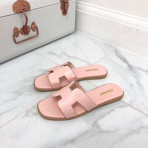 Hillary - Pink H Style Flat Slider Sandal