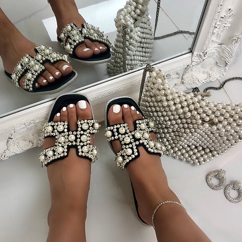 Penelope - Black with Pearl H Style Square Toe Slip On Sandals