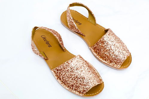 Mia - Rose Gold Glitter Peep Toe Sling Back Sandals