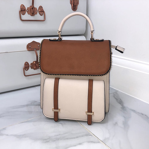 Cream and Tan with Gold Trim Backpack