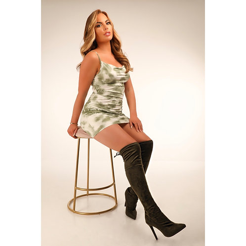 Elsa - Khaki Faux Suede Pointed Toe Thigh-High Stiletto Heel Boots
