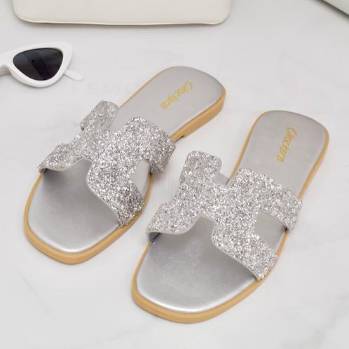 Maya - Silver Crystal Detail H Style Slider Sandal