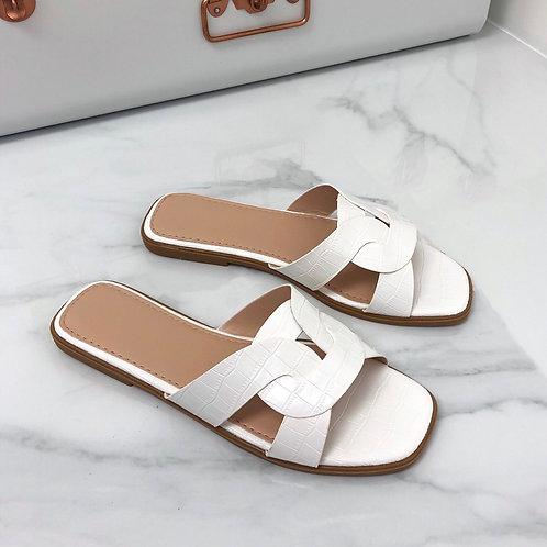 Cassie - White Croc Print Knot Style Slip On Flat Sandal