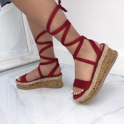 Elena - Red Faux Suede Tie Up Cork Flatform Sandals