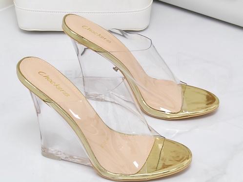 Eva - Gold Perspex Clear Wedge Heels