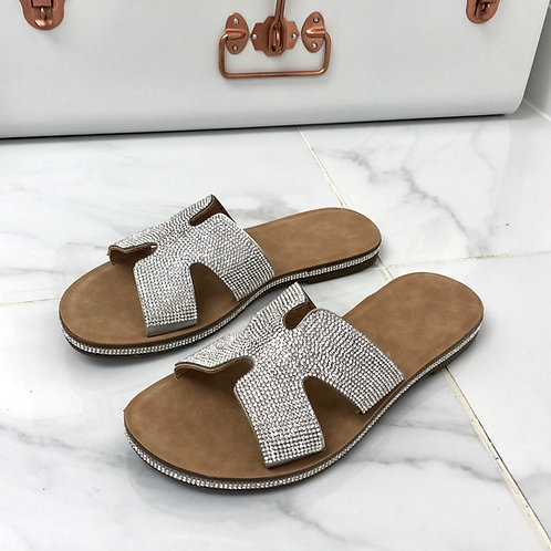 Havana - Silver Diamante H Style Birkenstock Sole Slider Sandal