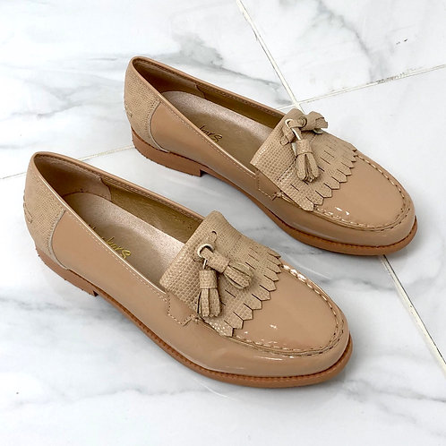 Ava - Nude Patent with Lizard Print Tassle Loafer