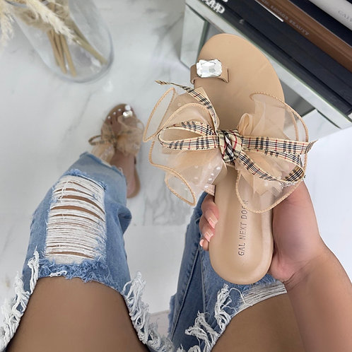Epson- Beige Organza Bow & Check Print Toe Ring Flat Sandals