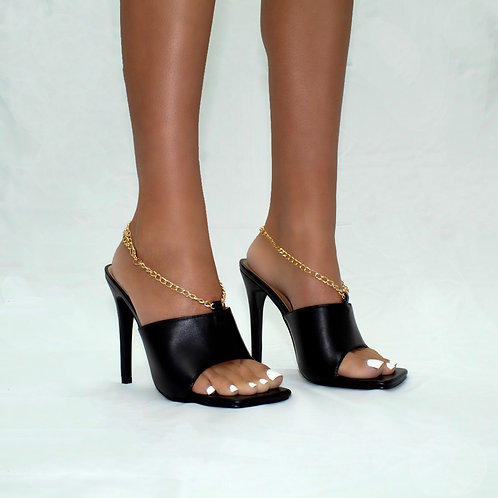 Priscilla - Black Faux Leather with Gold Ankle Chain Square Toe Mule Heels