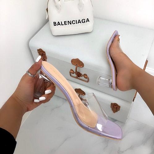 Sian - Lilac Patent Perspex Square Toe Low Round Block Mule Heel