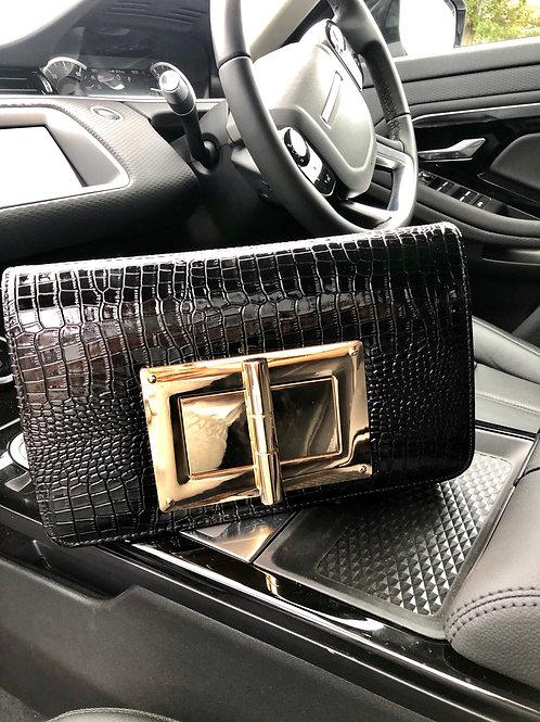 Black Meera Clutch - Black Croc Print With Large Gold Buckle Clasp Clutch Bag