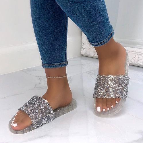 Jenna - Sliver Crystal Clear Sole Flat Slip On Slider