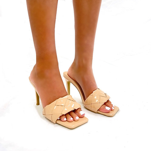 Candice - Nude Patent Woven Detail Low Slip On Mule Heels