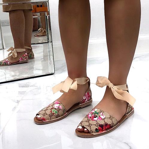Aariya - Beige/ Brown Floral Tie Up Flat Peep Toe Sandal