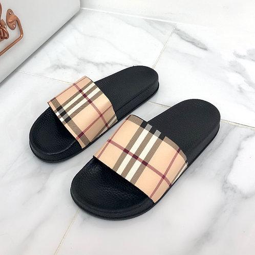 Louisa - Beige Checkered Print Slider Sandals