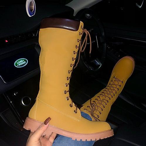 Tina - Tan Faux Nubuck Lace Up Long Knee High Work Boots